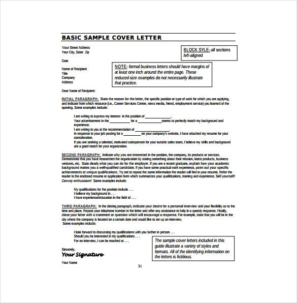Basic Resume Cover Letter Example PDF Template Free Download  Resume Cover Letter Templates