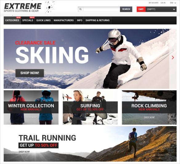 creative extreme sports responsive zencart theme