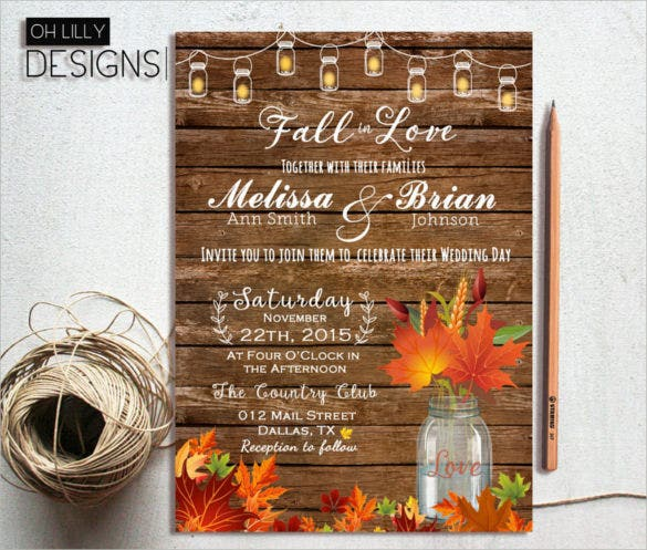 mason jar fall wedding invitation psd format template1