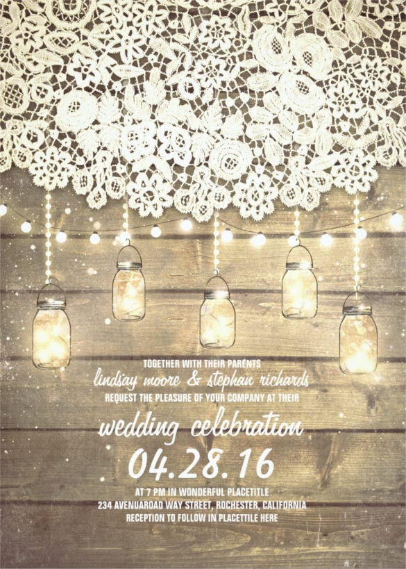 rustic mason jars traditional wedding invitation