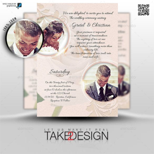 couples traditional wedding invitation psd format