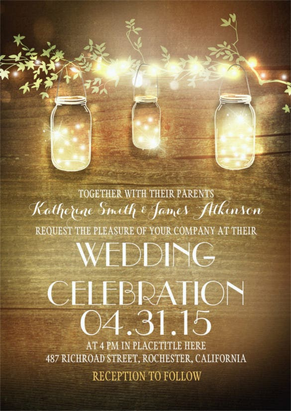 mason jars and lights traditional wedding invitation
