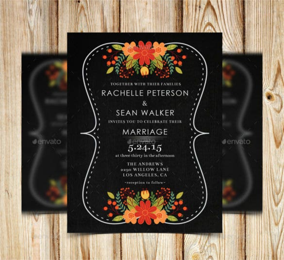 chalkboard floral wedding invitation psd format1