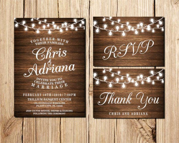 wood lights traditional wedding invitation