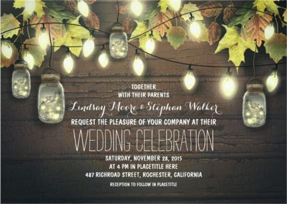 string of lights fall wedding invitation1