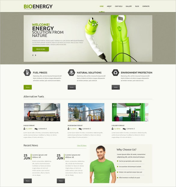 creative bio energy psd theme