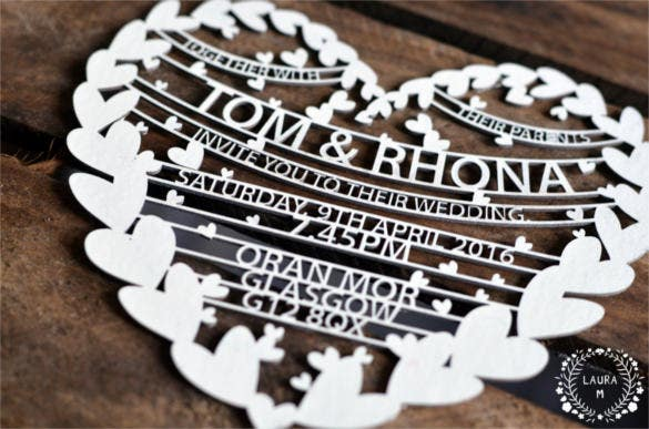bespoke custom laser cut traditional wedding invitation