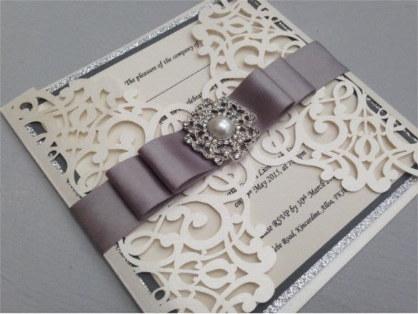 silver glitter luxury laser cut traditional wedding invitation template