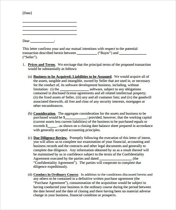 Attractive Business Purchase Letter Of Intent Template PDF Format Download  Business Letter Of Intent Sample Template