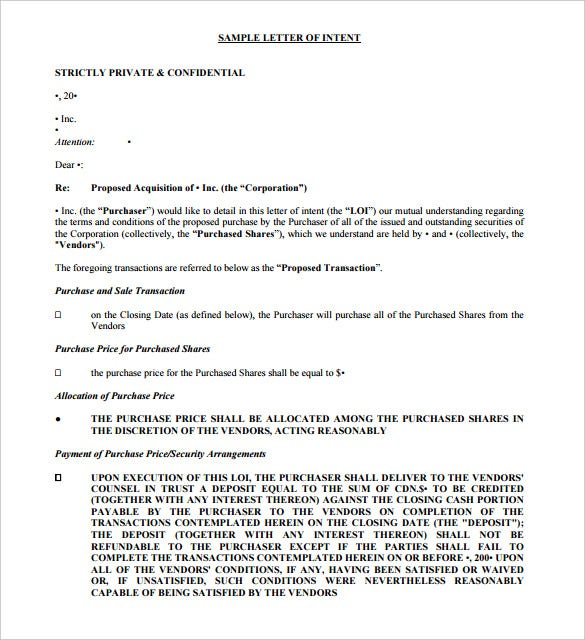 Purchase Letter Of Intent   Free Word Pdf Format Download