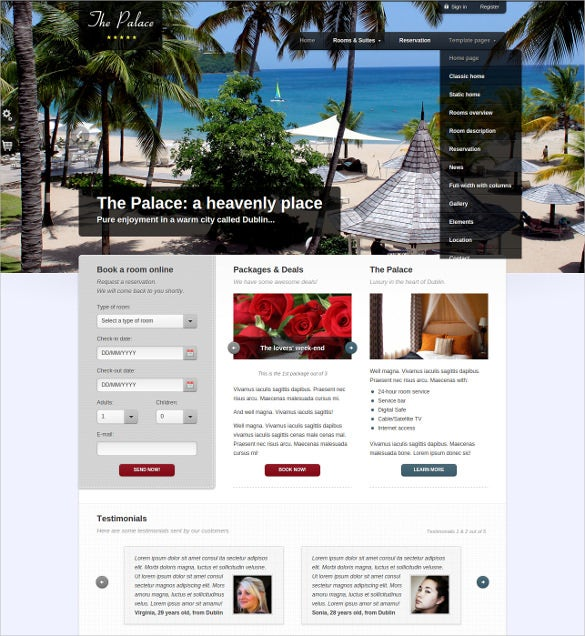 corporate hotel php template