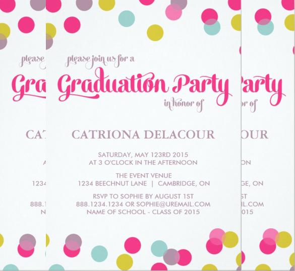 colorful dots graduation invitation