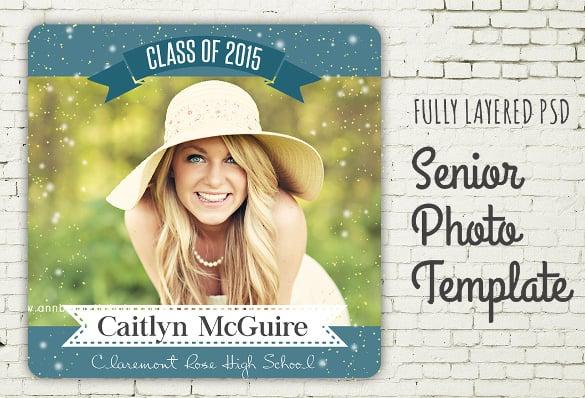 blue senior graduation photo template