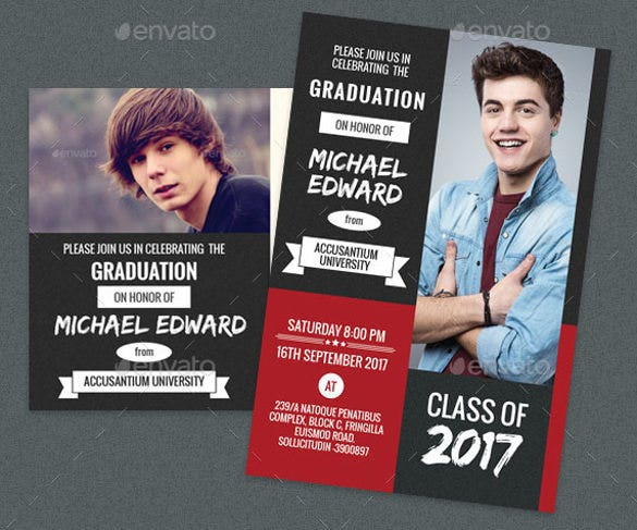 red graduation party post card and invitation card