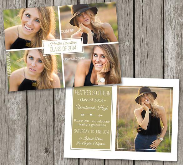 graduation photo invitation card college grad
