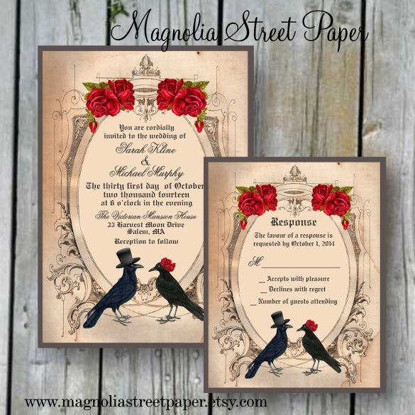 printable crow wedding invitation