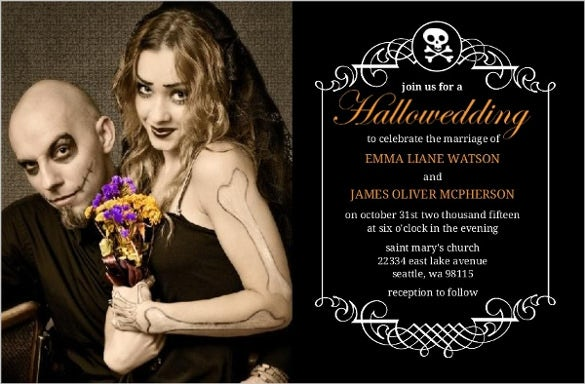 halloween wedding invite in filigree border