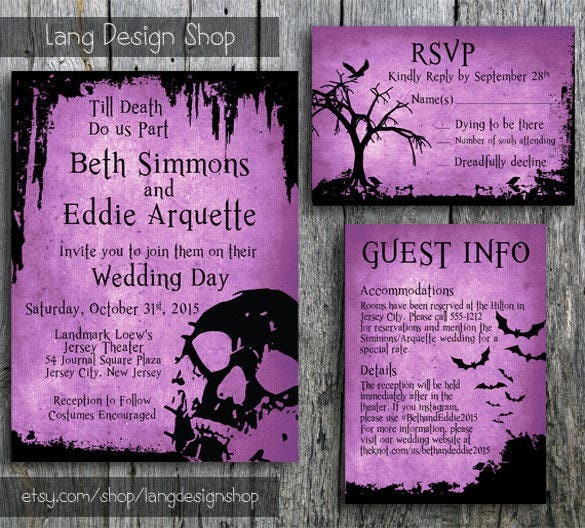 wedding invitation with skulls and bats