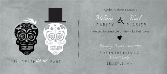 new fancy skulls wedding invitation