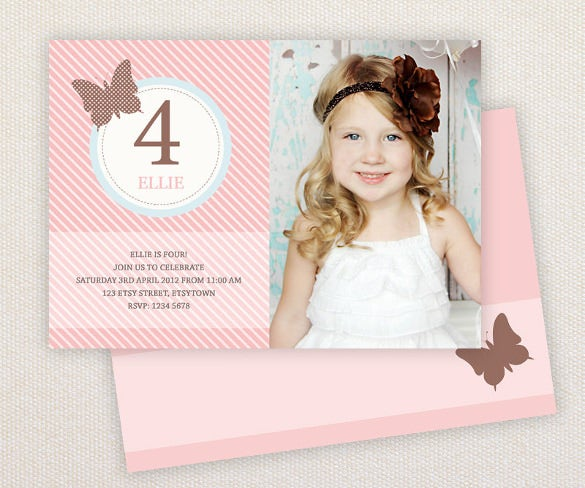 birthday invitation template vintage butterfly girl