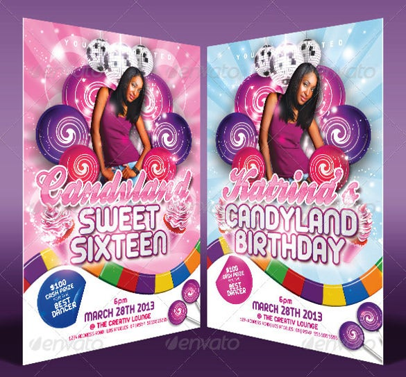 sweet sixteen candy land birthday invitation