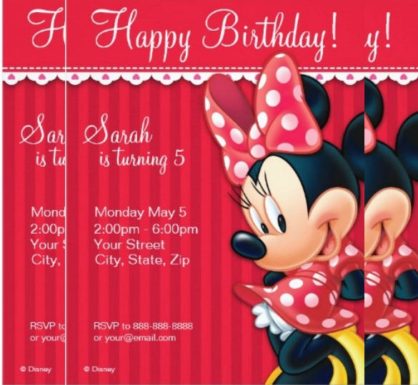 minnie red and white birthday invitation for 5