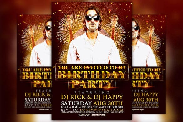 birthday party flyer template for men