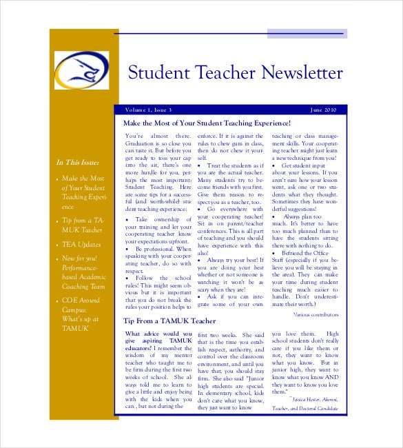 Teacher Newsletter Template – 8+ PSD, PDF Formats Download | Free ...