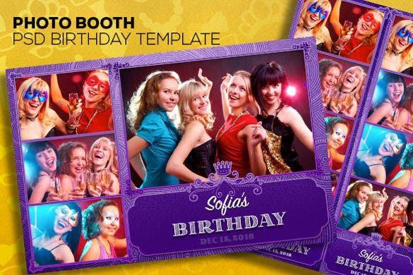 photobooth psd templates two birthday invitations