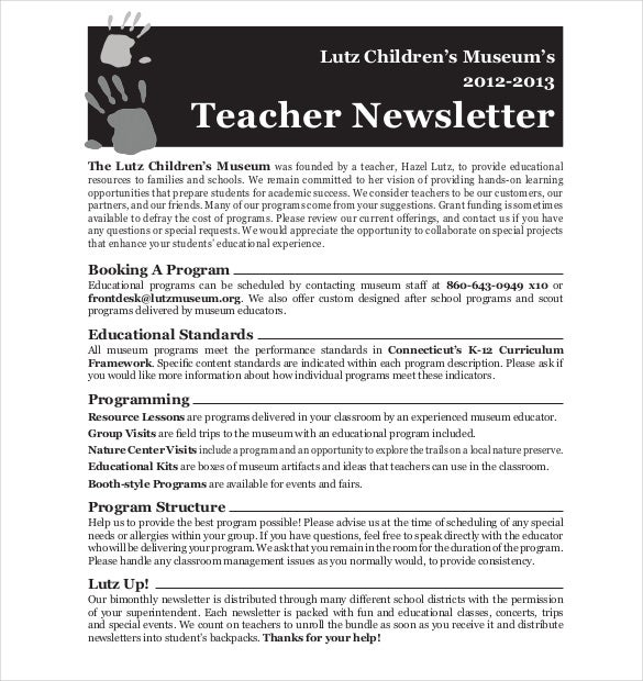 Teacher Newsletter Template   Psd Pdf Formats Download  Free