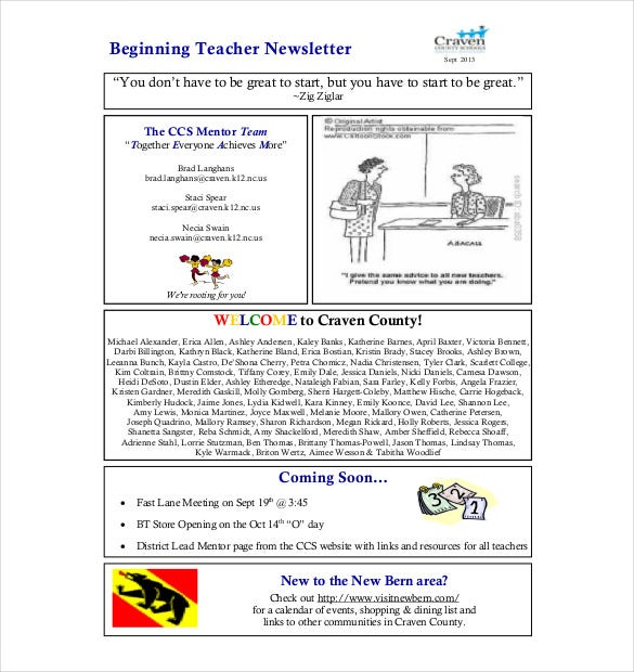 beginning teacher newsletter