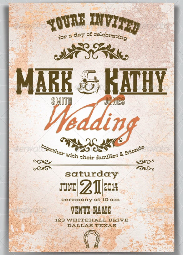 30 Western Wedding Invitation Templates Free Sample Example