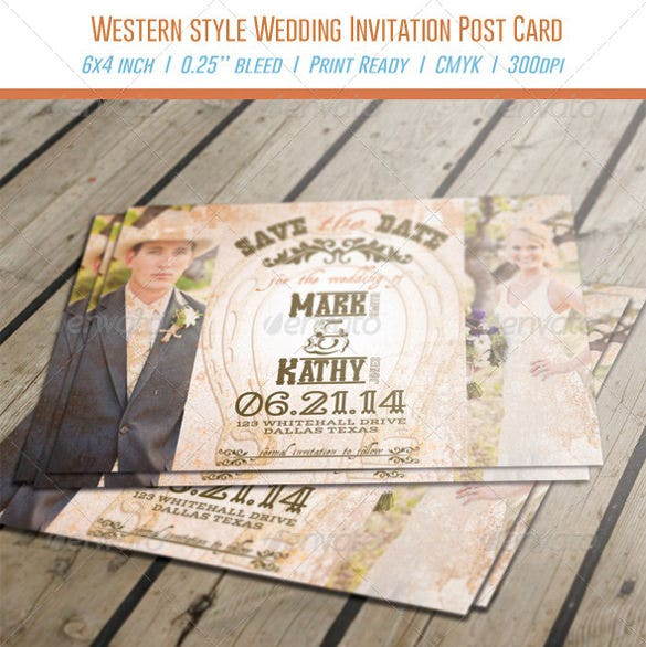 cow girl western style wedding invitation psd format