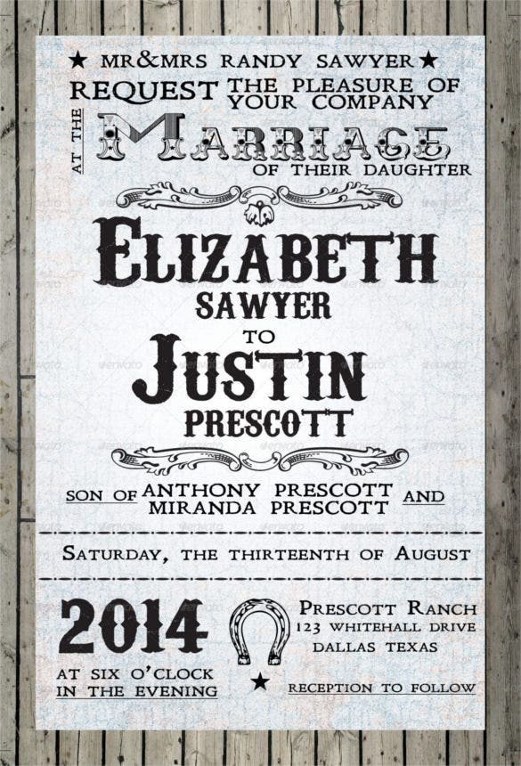 Western Wedding Invitation Templates Free Sample Example - Cowboy birthday invitation template