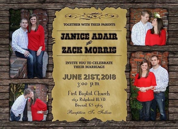 western vintage photoshop wedding invitation template