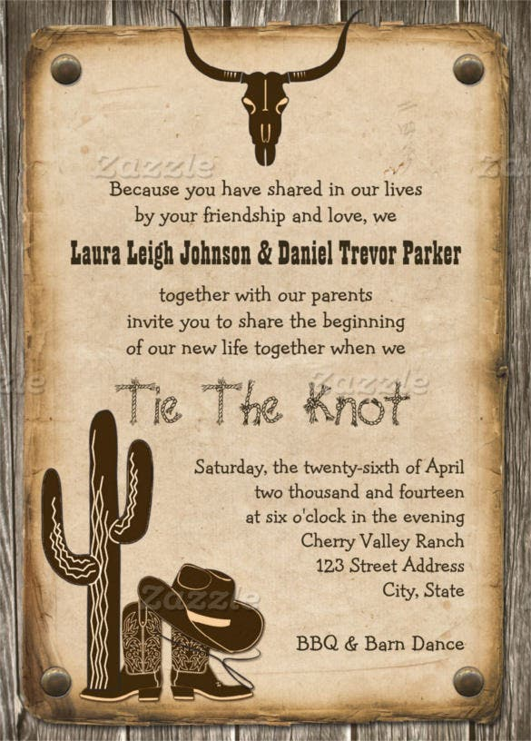 21+ western wedding invitation templates – free sample, example, Wedding invitations