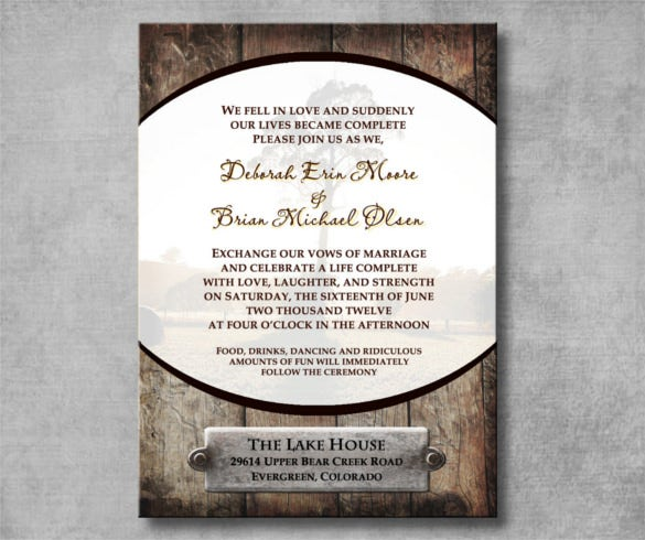 printable rustic western wedding invitation