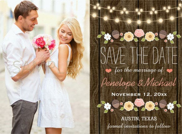 blush string of lights rustic western wedding invitation