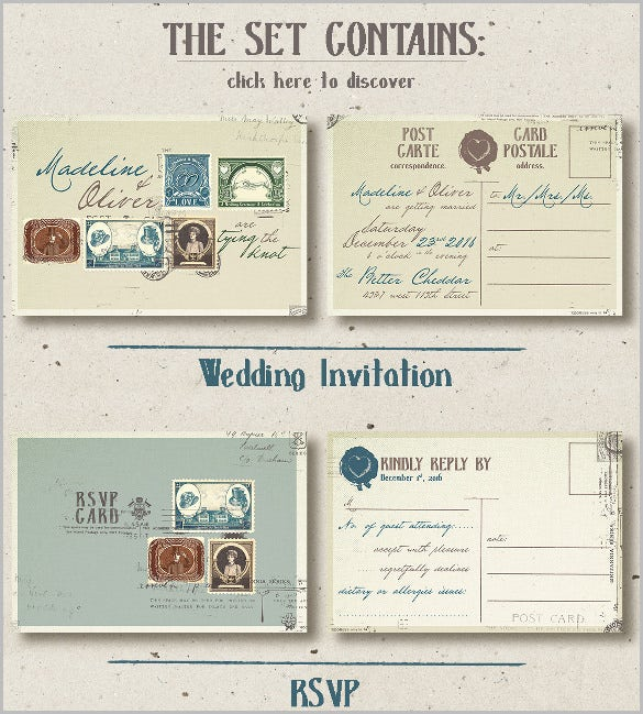 vintage stamp wedding postcard invitation