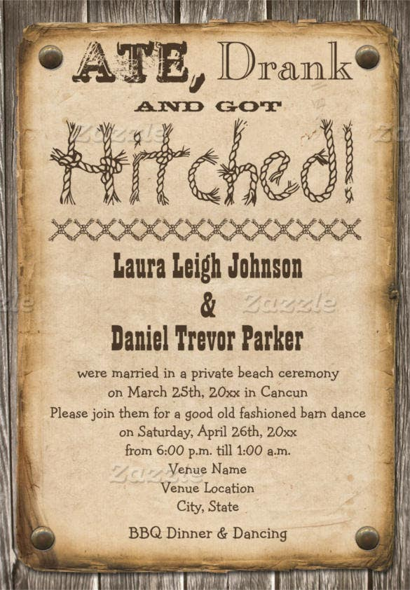 western style wedding invitation template