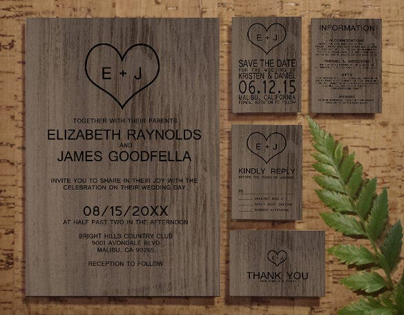western wood grain wedding invitation