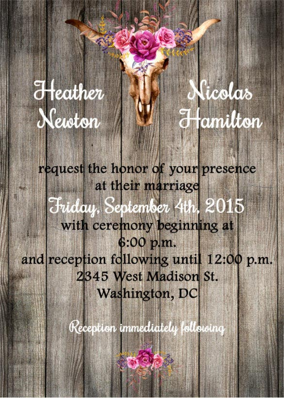 rustic western wedding invitation printable