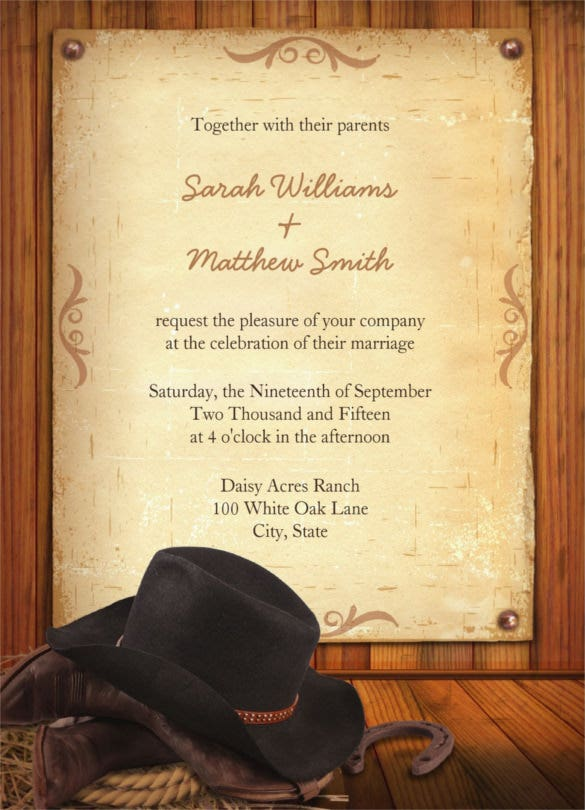 rustic western wedding invitations with cowboy hat