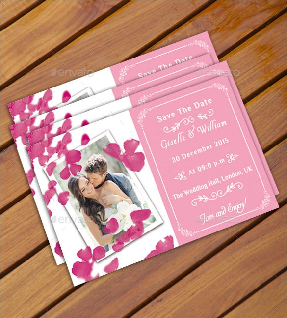 pink colour wedding postcard template
