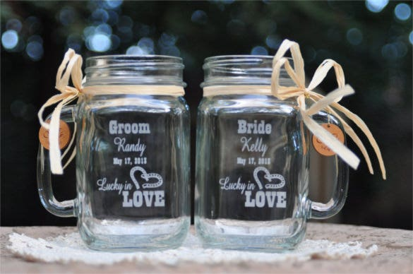 lucky in love mason jar mugs western wedding invitation