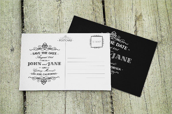 save the date wedding postcard template