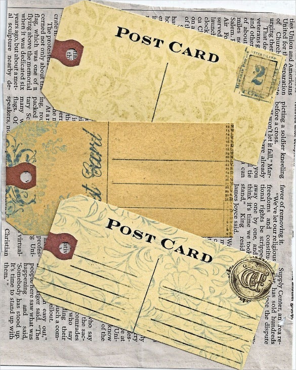 rustic vintage post card