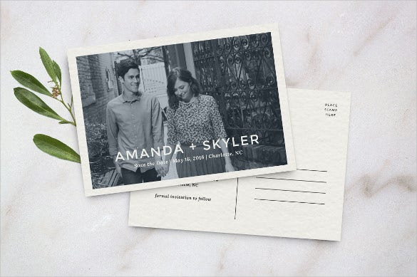 simple and beautiful save the date postcard template with custom photograph