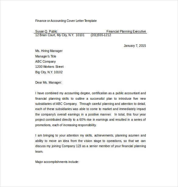 cover letter of accounting job