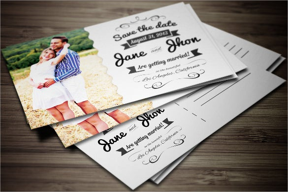 elegant wedding invitation postcard